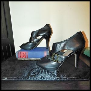 Aldo Black Strappy Peep Toe Heels with Buckle